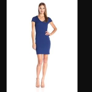 French Connection Lula Ponte Sheath Blue Dress